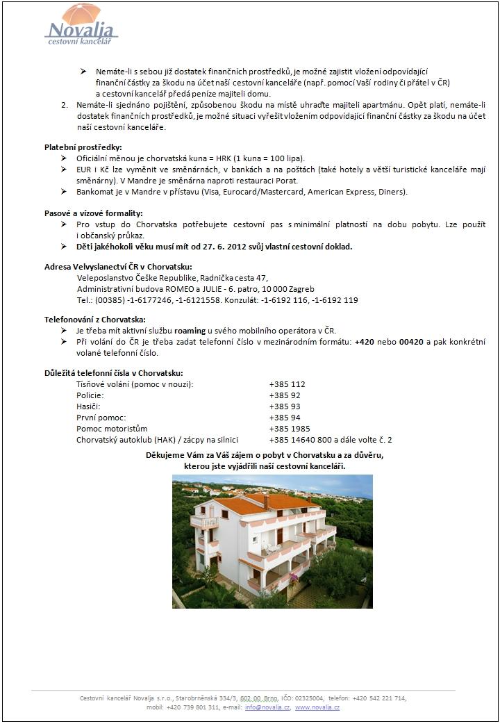 Důležité informace pro cestu do Chorvatska