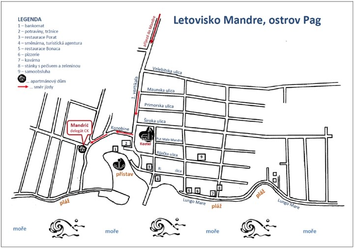 Mapa cesty do Chorvatska - letovisko