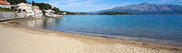 Písečná pláž Tatinja, Lumbarda, ostrov Korčula